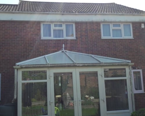 Conservatory, soffit and fascias before